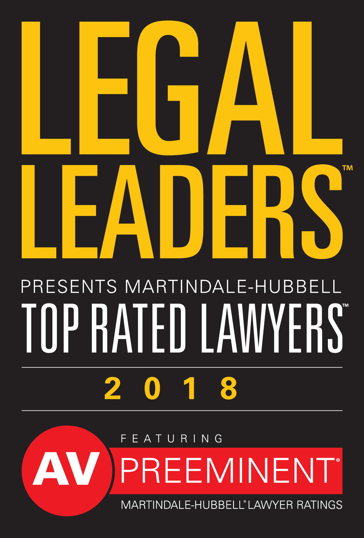 Logo: Legal Leaders Presents Martindale-Hubbell Top Rated Lawyers 2018